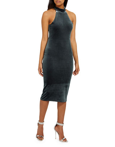 Missguided Velvet Halterneck Midi Dress-GREY-UK 14/US 10