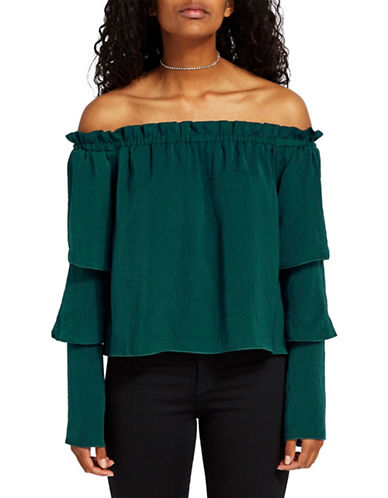 Missguided Satin Tiered Sleeve Bardot Top-GREEN-UK 10/US 6