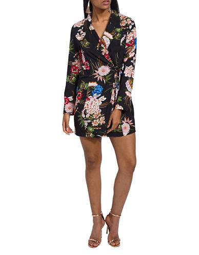 Missguided Floral Wrap Mini Dress-BLACK-UK 6/US 2
