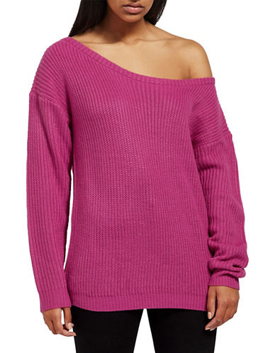 Missguided Ribbed Off-The-Shoulder Sweater-PINK-Medium/Large