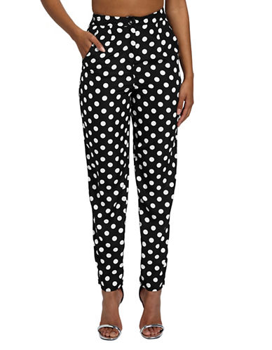 Missguided Polka Dot Cigarette Trousers-BLACK-UK 14/US 10