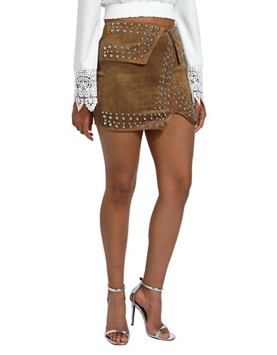 Missguided Studded Mini Skirt-BROWN-UK 12/US 8