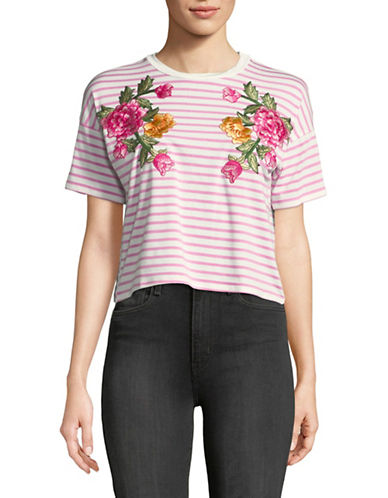Missguided Embroidered Floral Crop Top-PINK-UK 16/US 12