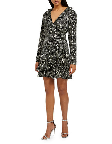 Missguided Dot-Print Tea Dress-BLACK-UK 16/US 12