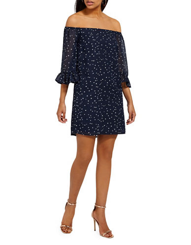 Missguided Chiffon Bardot Star-Print Mini Dress-NAVY-UK 14/US 10