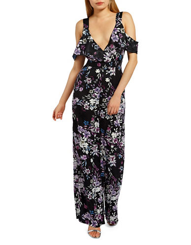 Missguided Floral Wide-Leg Cold-Shoulder Jumpsuit-BLACK-UK 12/US 8