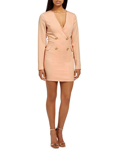 Missguided Crepe Blazer Dress-PEACH-UK 14/US 10