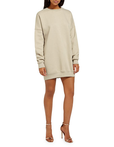 Missguided Oversized Sweater Dress-STONE-UK 14/US 10