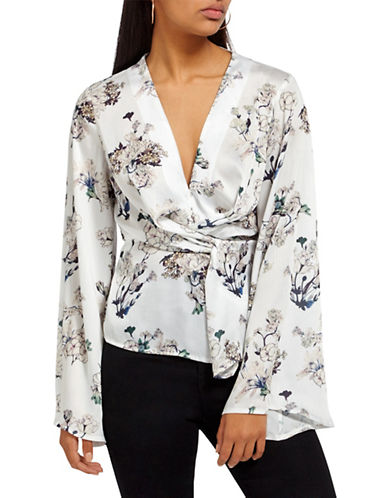 Missguided Floral-Print Long-Sleeve Top-WHITE-UK 14/US 10