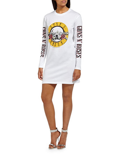 Missguided Guns n Roses Cotton Shirtdress-WHITE-UK 14/US 10