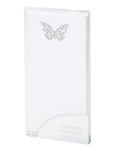 Talking Tables 10-Pack Butterfly Invitation Set-WHITE-One Size
