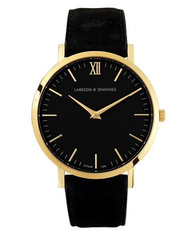 Larsson And Jennings Core Lugano 18K Gold-Plated Stainless Steel Bovine Leather Strap Watch-BLACK-One Size