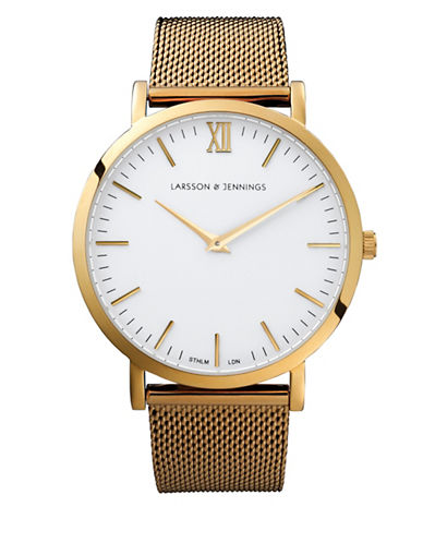 Larsson And Jennings Core Lugano 18K Gold-Plated Stainless Steel Mesh Bracelet Watch-GOLD-One Size