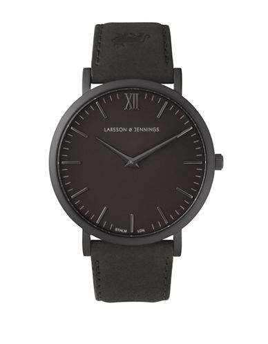 Larsson And Jennings Core Lugano Black PVD Stainless Steel Bovine Leather Strap Watch-BLACK-One Size