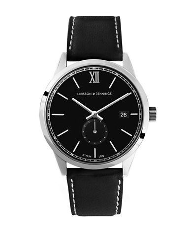 Larsson And Jennings Core Stainless Steel Black Leather Strap Watch-BLACK-One Size