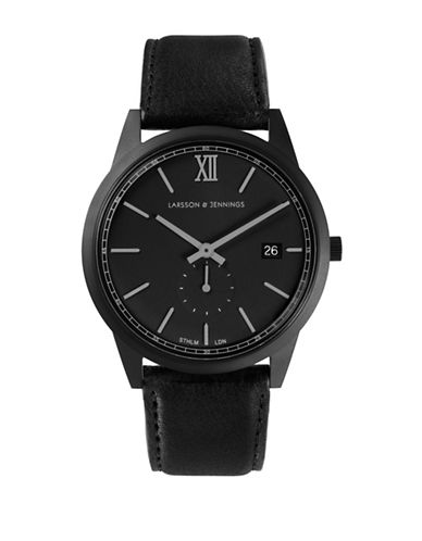 Larsson And Jennings Core Black Stainless Steel Black Leather Strap Watch-BLACK-One Size