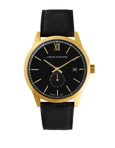 Larsson And Jennings Core Goldtone Stainless Steel Black Leather Strap Watch-BLACK-One Size