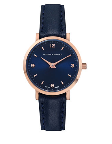 Larsson And Jennings Core Lugano 18K Rose Gold-Plated Blue Bovine Leather Strap Watch-BLUE-One Size