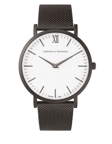 Larsson And Jennings Core Lugano Matte Black PVD Stainless Steel Mesh Bracelet Watch-BLACK-One Size