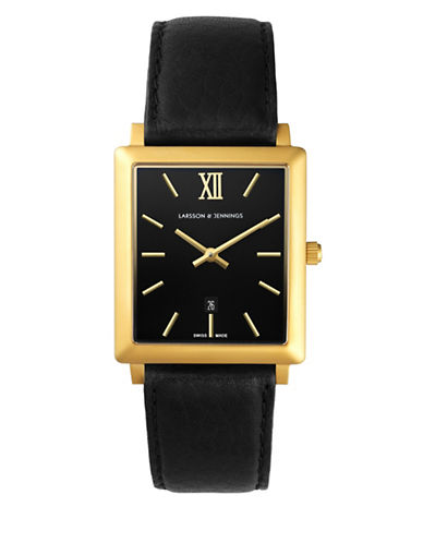 Larsson And Jennings Core Norse 18K Gold-Plated Stainless Steel Leather Strap Watch-BLACK-One Size