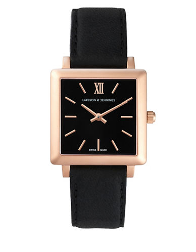 Larsson And Jennings Core Norse 18K Rose Gold-Plated Stainless Steel Black Bovine Leather Watch-BLACK-One Size