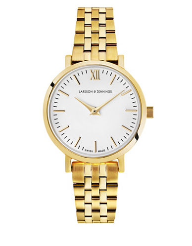 Larsson And Jennings Lugano 18K Gold-Plated Stainless Steel Link Bracelet Watch-GOLD-One Size