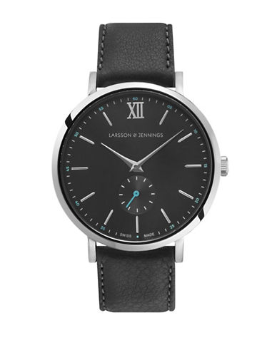 Larsson And Jennings Lugano Stainless Steel Bovine Leather Strap Watch-SILVER-One Size