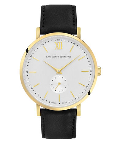 Larsson And Jennings Lugano 18K Gold-Plated Stainless Steel Bovine Leather Strap Watch-GOLD-One Size