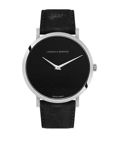Larsson And Jennings Lugano Black and Silvertone Analog Watch-BLACK-One Size