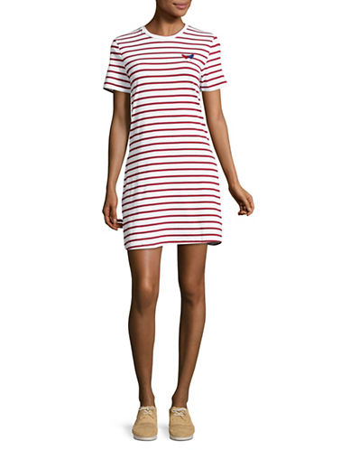 Etre Cecile Striped T-Shirt Fit-and-Flare Dress-RED-Medium