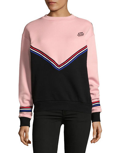 Etre Cecile Chevron Boyfriend Cotton Sweatshirt-ROSE-Large
