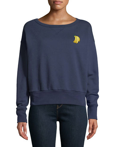 Etre Cecile Embroidered Banana Cotton Sweatshirt-BLUE-Large