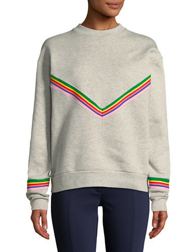Etre Cecile Chevron Boyfriend Cotton Sweatshirt-GREY-Small