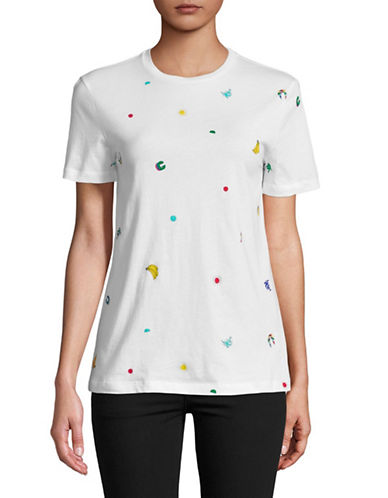 Etre Cecile Tropical Printed Cotton Tee-WHITE-X-Small