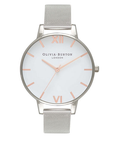 Olivia Burton Analog Stainless Steel Mesh Bracelet Watch-SILVER-One Size
