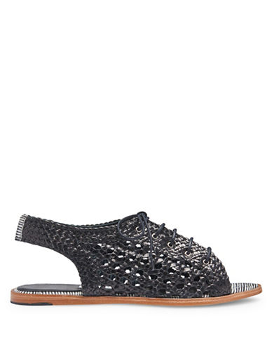 Miista Rania Woven Leather Flat Sandals-BLACK-EUR 39/US 9