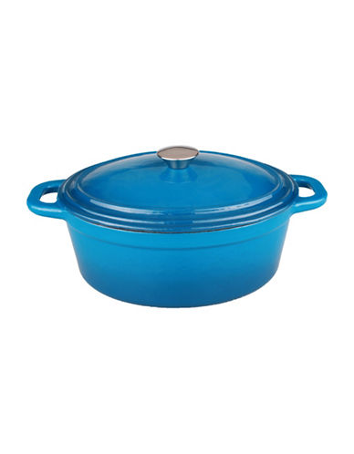 Berghoff Neo Cast Iron Oval Covered Casserole-BLUE-One Size