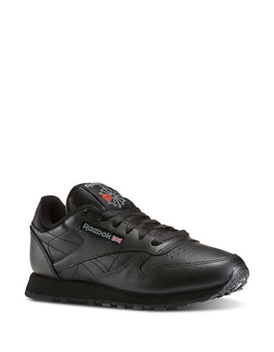 Reebok Womens Franchise Five Leather Running Sneakers-BLACK-6.5