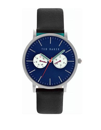 Ted Baker London Black Leather Strap Smart Casual Watch-BLACK-One Size