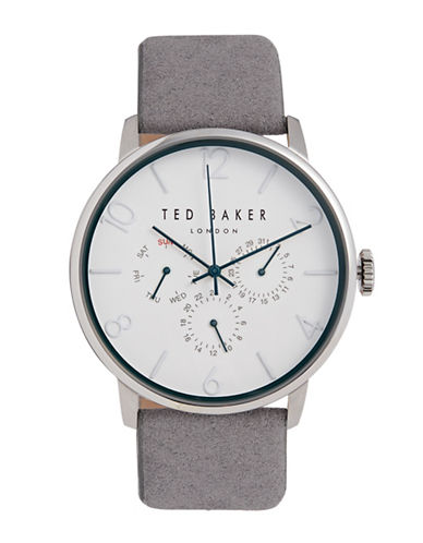 Ted Baker London Leather Strap Analog Watch 10032101-GREY-One Size
