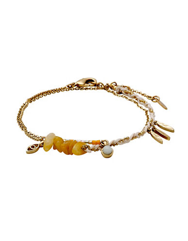 Pilgrim Kornelia Pearl, Yellow Jade and Grey Agate Bracelet-GOLD-One Size