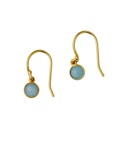 Pilgrim Aleja Blue Calcedonia Earrings-GOLD-One Size