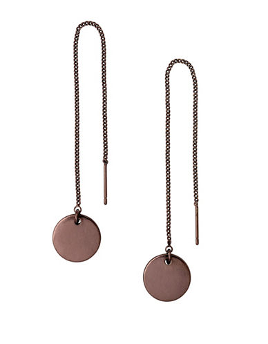Pilgrim Eilidh Disc Drop Earrings-BROWN-One Size