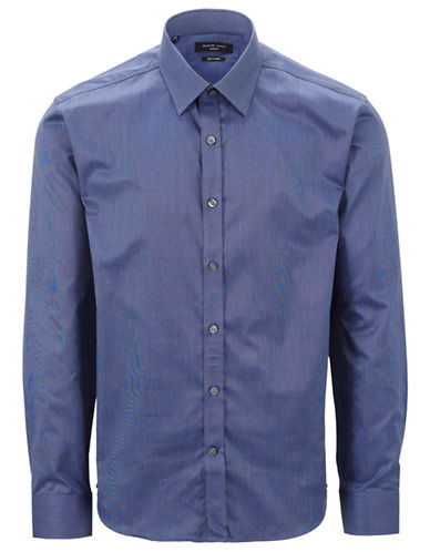 Selected Homme Grey One Pelle Santiago Shirt-MID BLUE-X-Large