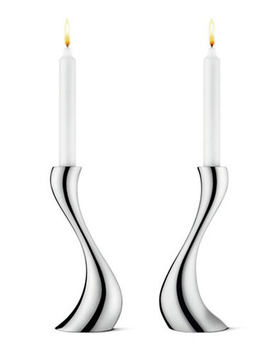 Georg Jensen Set of Two Medium Cobra Candleholders-STAINLESS STEEL-Medium