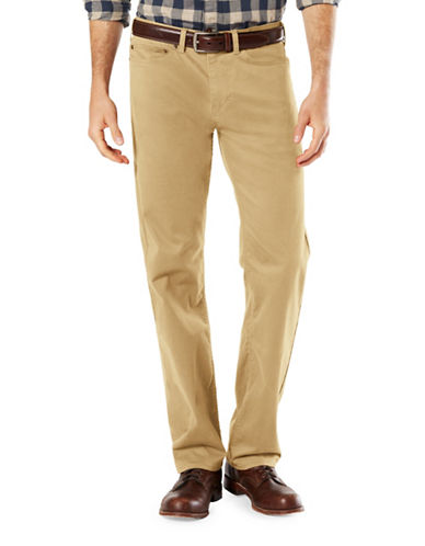 Dockers Five-Pocket Soft Stretch Straight Pants-KHAKI-40X32