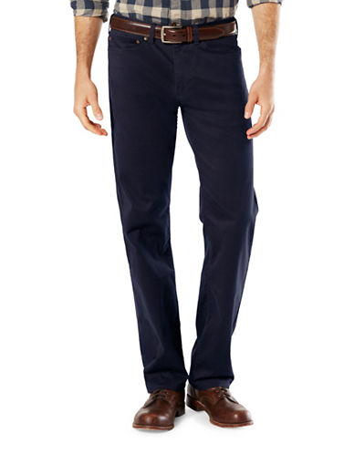 Dockers Five-Pocket Soft Stretch Straight Pants-BLUE-38X30