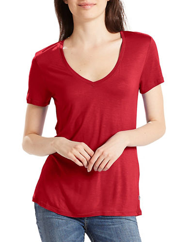 LeviS Perfect V-Neck Tee-RED DAHLIA-Medium