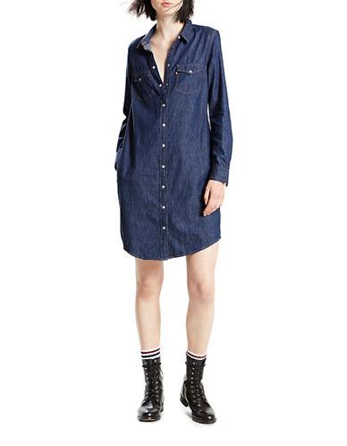 LeviS Iconic Western Cotton Shirtdress-DARK WASH-Large