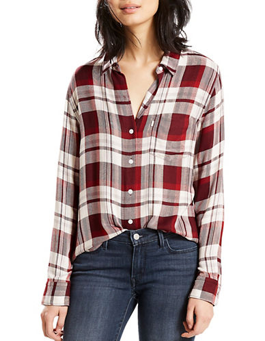 LeviS Sidney One-Pocket Boyfriend Button-Down Shirt-MOOSEWOOD MERLOT-Small
